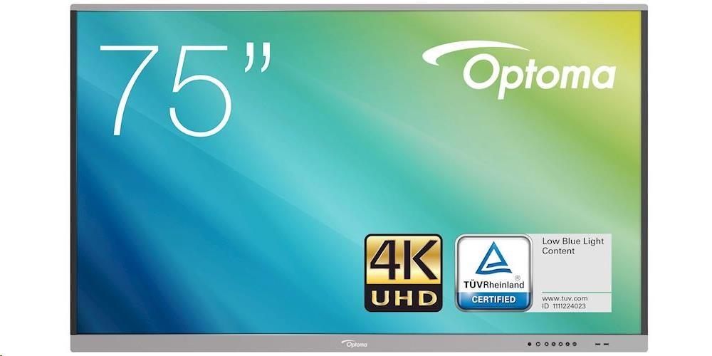 "Optoma 5751RK IFPD 75"" - STŘÍBRNÝ interaktivní dotykový displej, 4K UHD, multidotyk 20prstu"