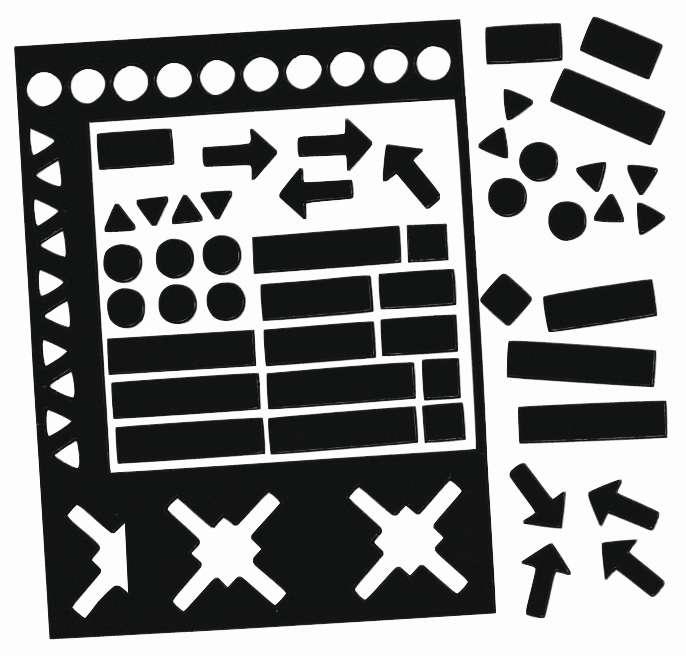 Magnetické symboly, výška 20 mm, MIX,  sada 30 ks, ČERNÉ