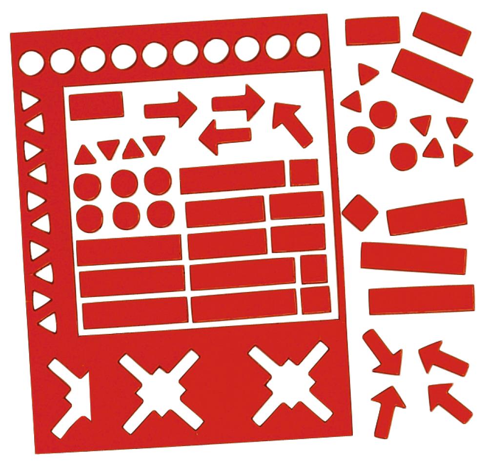 Magnetické symboly, výška 20 mm, MIX,  sada 30 ks, ČERVENÉ