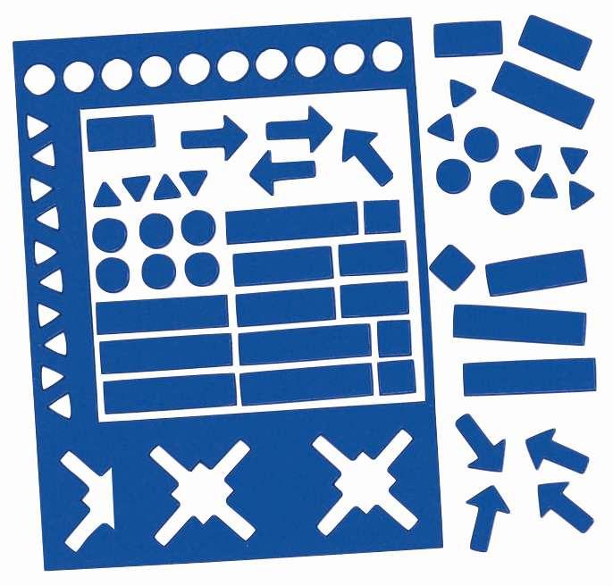 Magnetické symboly, výška 20 mm, MIX,  sada 30 ks, MODRÉ