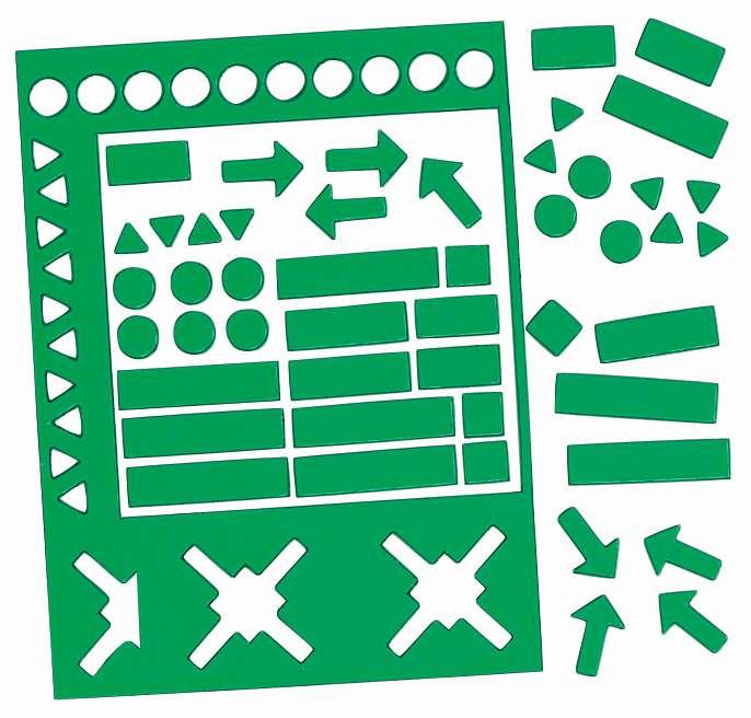 Magnetické symboly, výška 10 mm, MIX,  sada 70 ks, ZELENÉ