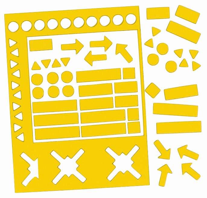 Magnetické symboly, výška 20 mm, MIX,  sada 30 ks, ŽLUTÉ