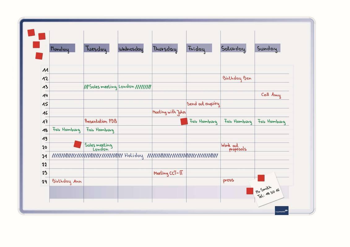 ACCENTS Linear týdenní plánovací tabule MODRÁ 60x90