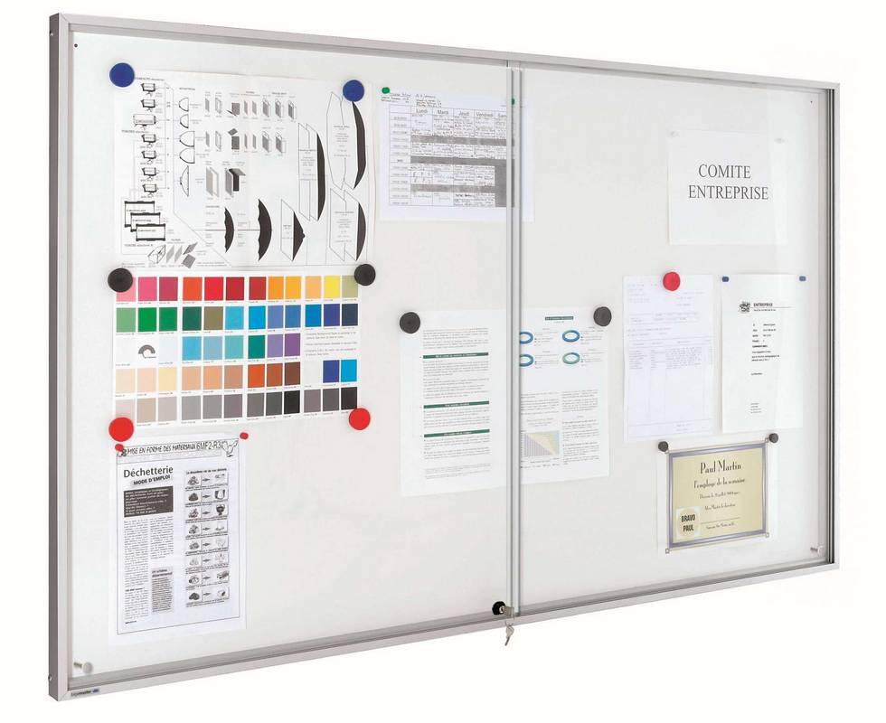 PREMIUM vnitřní vitrína/bílá tabule  65,3 x 131,9 cm (12*A4, posuv.dv.)