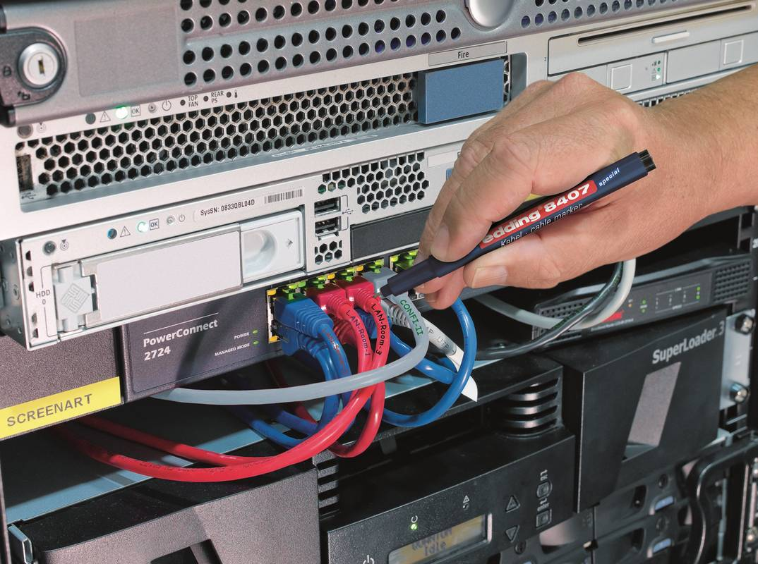 edding 8407 popisovač kabelů, kulatý hrot 0.3 mm, sada 4 ks