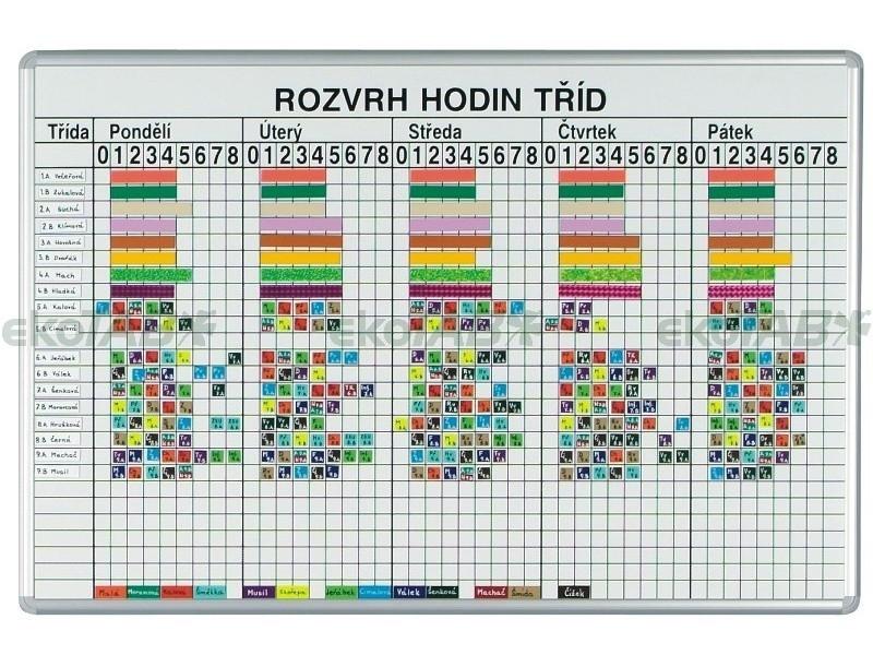 Tabule na ROZVRH HODIN do 40 tříd (135x100 cm)