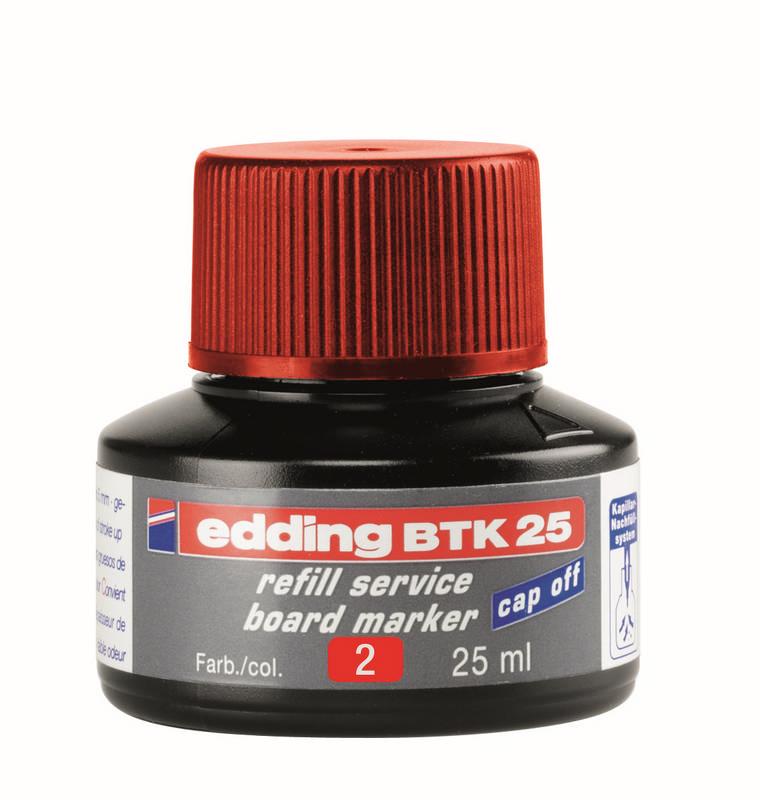 Náhradní inkoust edding BTK25 (25 ml) na tabule, kapilární - ČERVENÝ