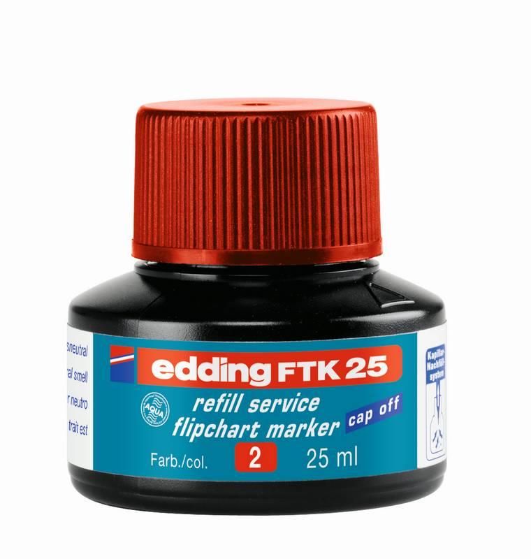 Náhradní inkoust edding FTK25 (25 ml) na flipcharty, kapilární - ČERVENÝ