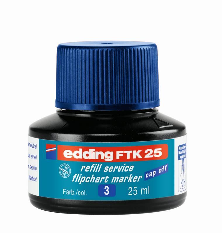 Náhradní inkoust edding FTK25 (25 ml) na flipcharty, kapilární - MODRÝ