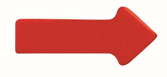 Magnetické symboly - šipky 10x20 mm,  sada 35 ks, ČERVENÉ