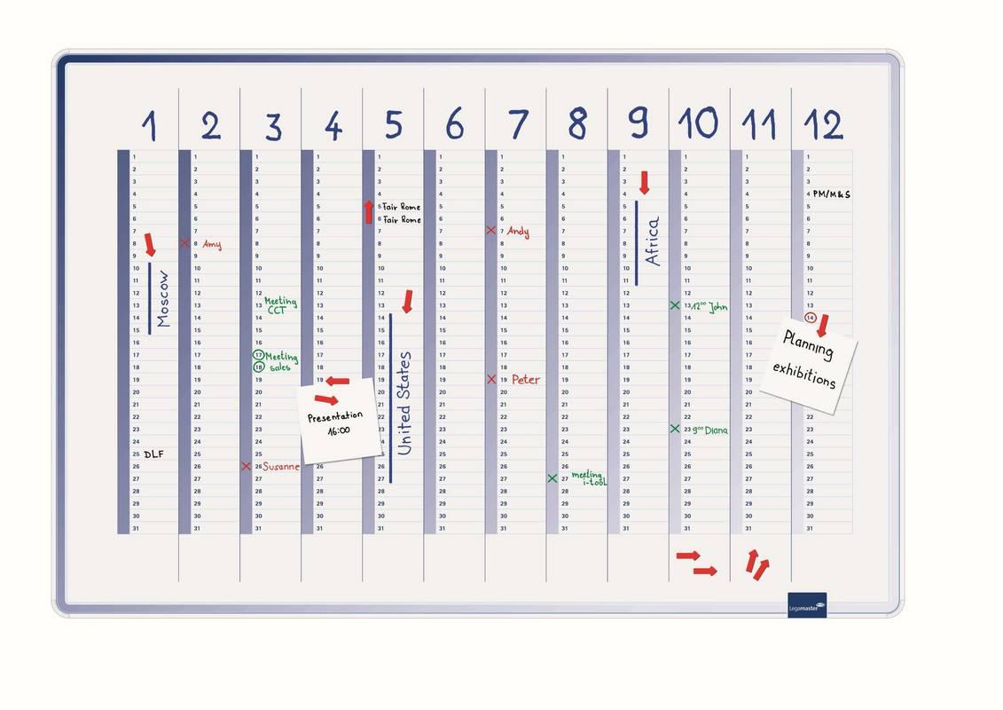 ACCENTS Linear roční plánovací tabule MODRÁ 60x90