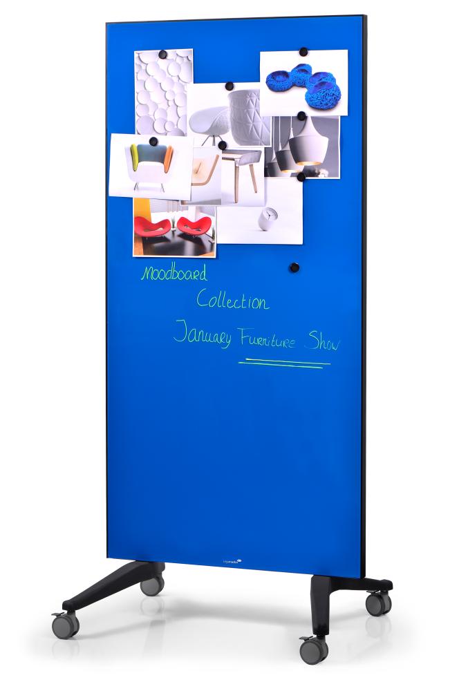 GLASSBOARD MOBILNÍ skleněná tabule (PARAVAN) - MODRÁ