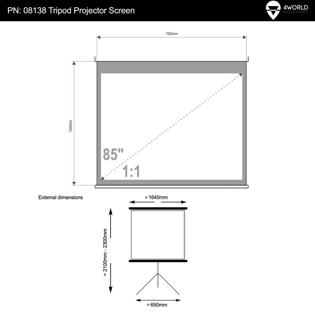 """4World Projekční plátno přenosné 152x152 85"""" 1:1"""