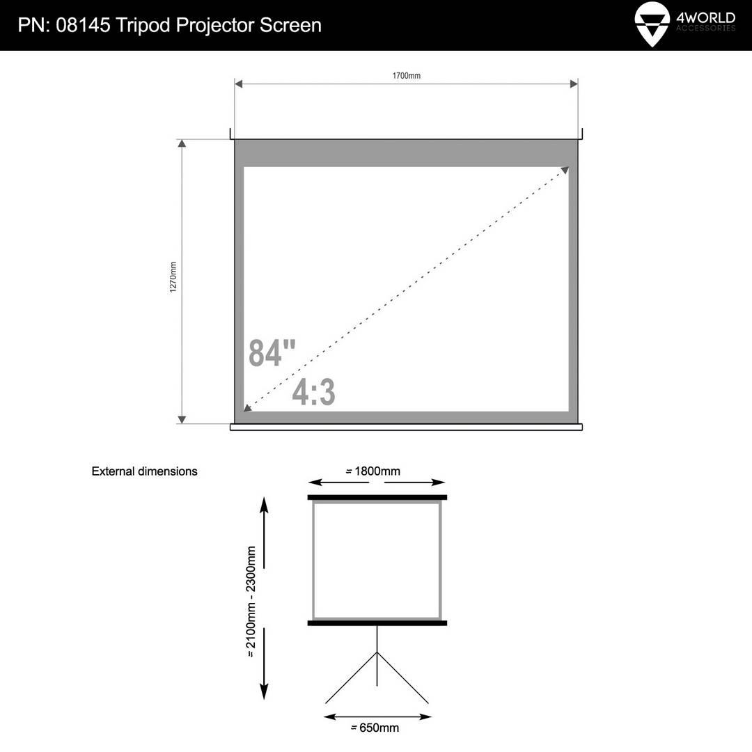 """4World Projekční plátno přenosné 170x127 84"""" 4:3"""